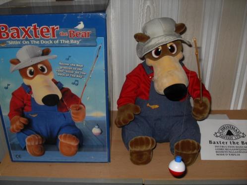 nieuw in doos baxter de vissende kerst beer bear op stroom