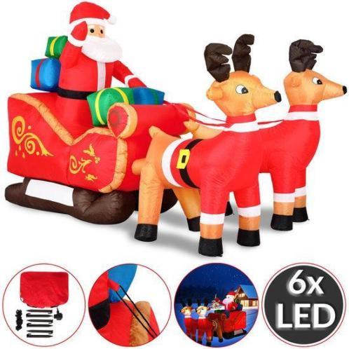 Grote opblaasbare kerstman met arreslee, voor binnen en b...