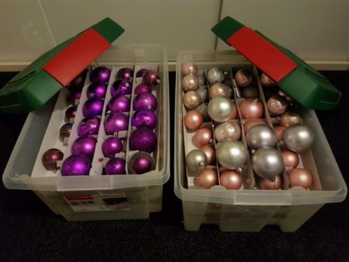 Kerstspullen paars, Zilver, roze