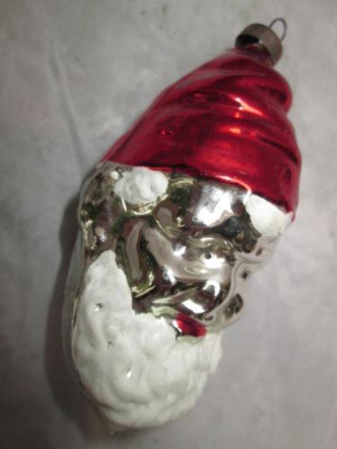 Antieke Kerstbal Kerstman Hoofd Gemerkt British Made SDML?