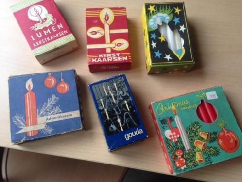 6 oude doosjes met kaarsen