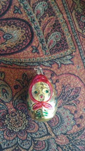 oude dik glazen kerstbal 1 uit rusland