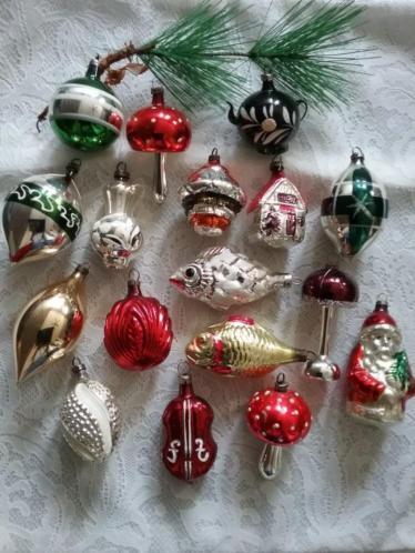 Antieke oude kerst figuurtjes kerstballen kerstversiering