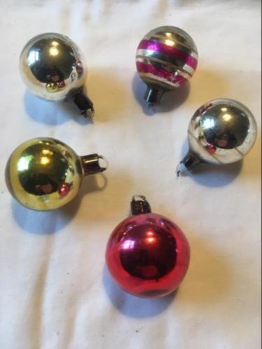 5 ajeko kerstballetjes oude antieke kerst