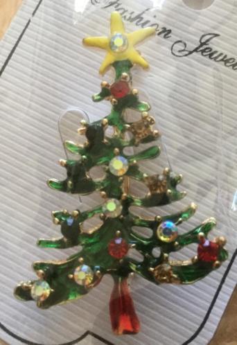 Broche / kerstbroche kerstboom met strass steentjes, NIEUW