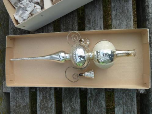 Antieke oude zilveren kerstboom piek met belletjes vintage