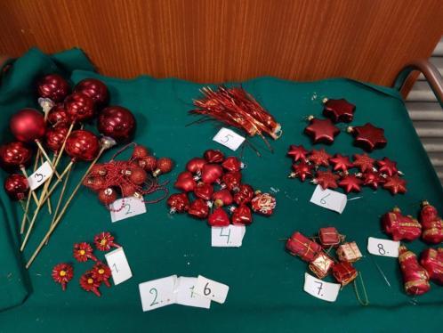 Kerst decoratie en hangers rood, diverse, zie foto's