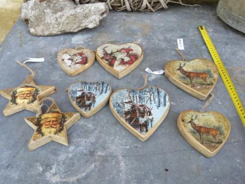 8 stuks houten kerstdecoratie nostalgie hart kerstman PTMD
