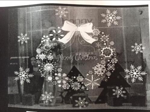 Raamsticker Muursticker kerstkrans kerstboom wit nieuw