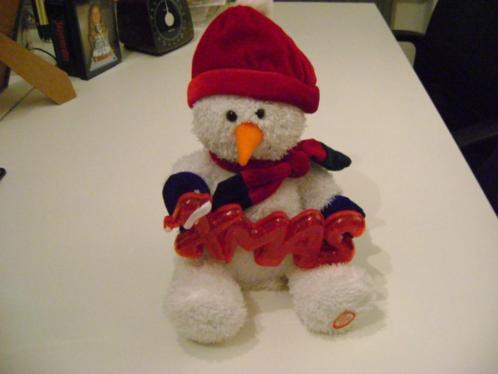 kerst sneeuwman met geluid en verlicht xmas bord 30 cm groot