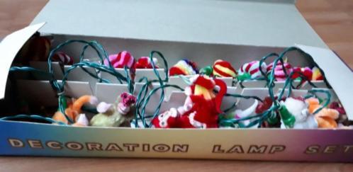 Oude kerst vintage kerstlampjes chenille aapjes !!