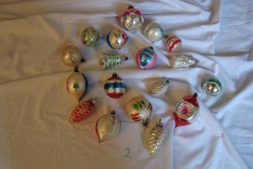 Partij van 18 mooie oude antieke kerstballen kerst