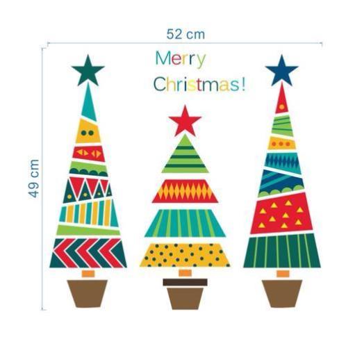 Raamsticker muursticker 3 kerstbomen kleur merry christmas