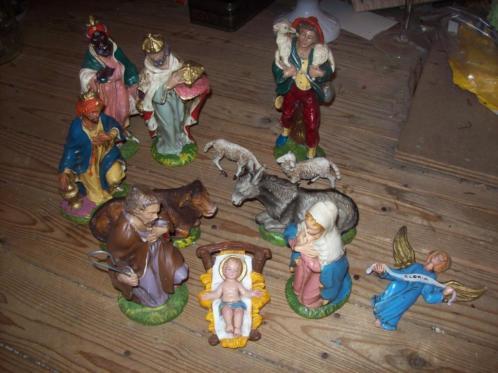 oude kerstgroep van papiermache uit italy