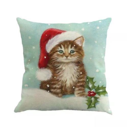 Retro vintage print kat kitten kerstmuts kussenhoes nieuw
