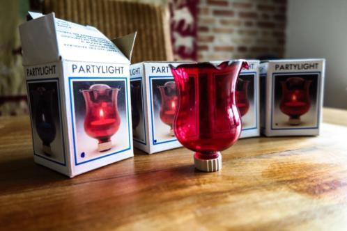 nieuw - rood glazen party light voor in kandelaar