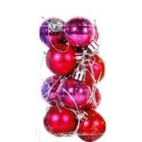 Roze kerstballen 12 stuks 3 cm - Kerstballen