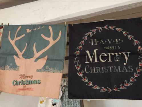 Kerstkrans mistletoe merry christmas rendiergewei kussenhoes