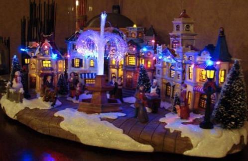kerstdorp met muziek en wisselende kleuren op stroom SUPER