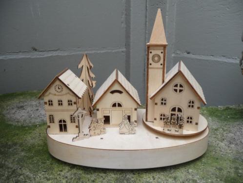 """Kerst dorp Houten muziekdoos """" Klein dorp"""""""
