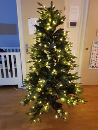 1 jaar oude kerstboom met 280 warme LED lampen 185cm hoog