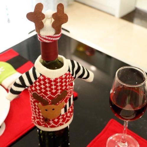 Kersttrui rendier gewei wijnfles versiering kerst nieuw