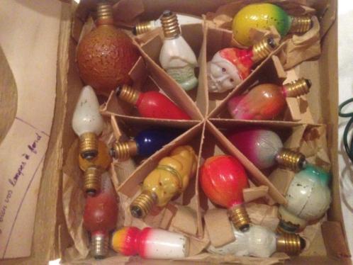 Oude antieke kerstlampjes kerstverlichting figuurlampjes