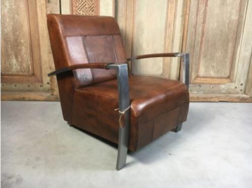 Vintage lederen fauteuil Tom en Frank - In 6 kleuren leer