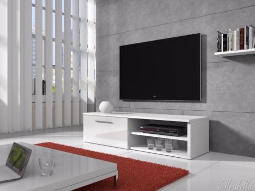 TV-meubel Bash - Wit / zwart / eiken - TV-kast - 120cm