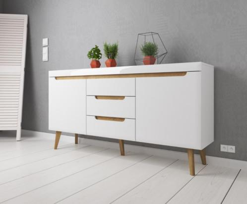 Nebraska Dressoir - 160 cm - Hoogglans wit met lades