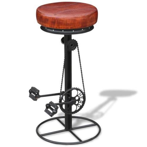 vidaXL Barkruk met fietspedalen echt leer bruin en zwart