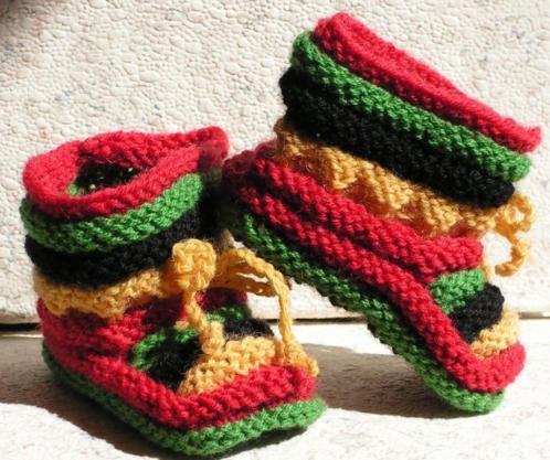 Baby Booties, Reggae, 0-3 maanden, handgebreide slofjes