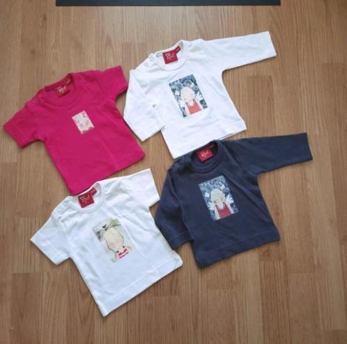 2 t-Shirtjes Rose&Wit/Shirtjes Grijs&Wit Maat 50/56 ( Pjut )