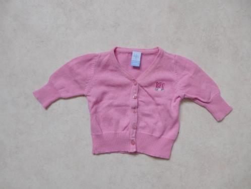 (J71) Dun roze baby vestje