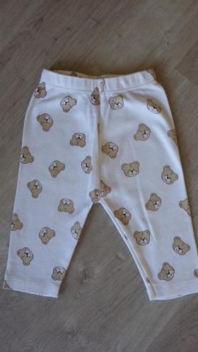 Baby broekje katoen nieuw maat 50 wit met beertjes