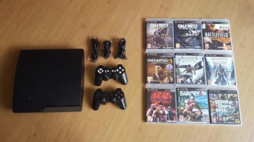 PS3 Slim met 2 controllers en 9 spellen!!