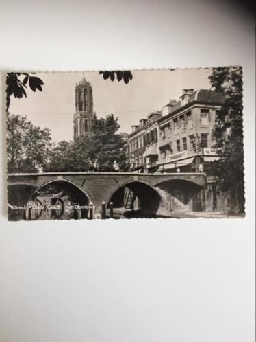 Utrecht. Oude Gracht met Domtoren. Oude fotokaart